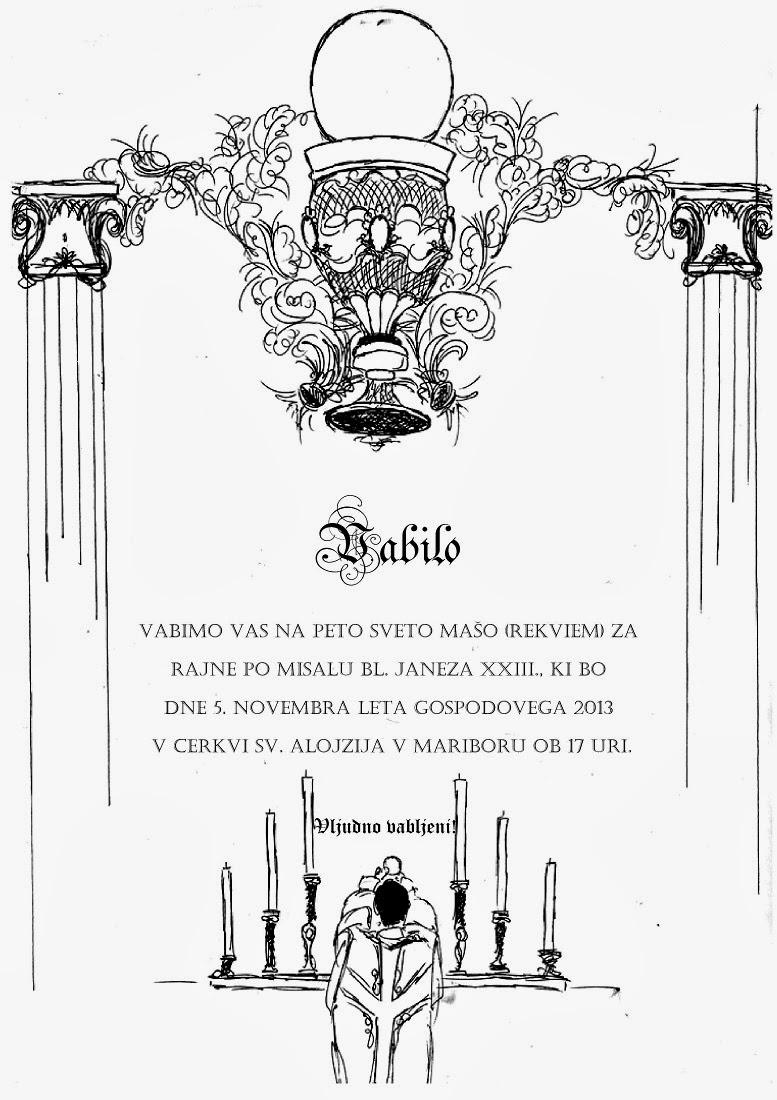Vabilo – tradicionalna latinska maša v Mariboru, 5. november 2013