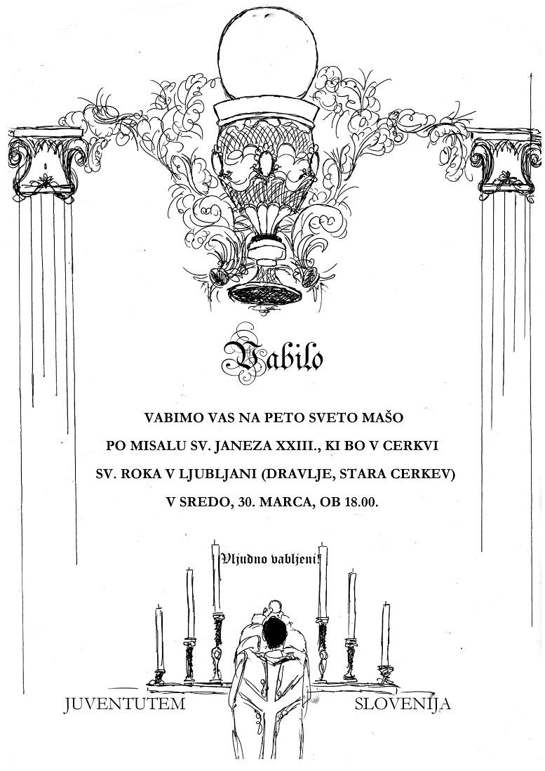 Vabilo – tradicionalna latinska sveta maša v Ljubljani, 30. marec 2016