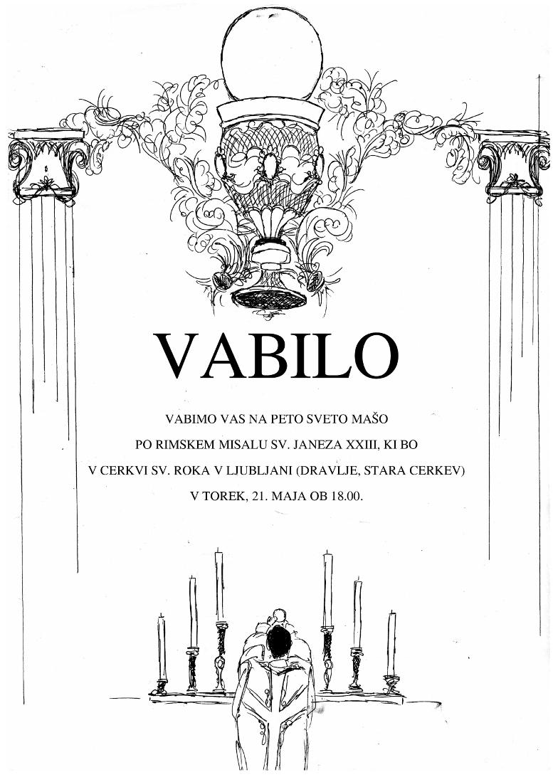 Vabilo – tradicionalna latinska sveta maša v Ljubljani, 21. 5. 2019
