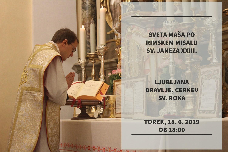 Vabilo – tradicionalna latinska sveta maša v Ljubljani, 18. 6. 2019