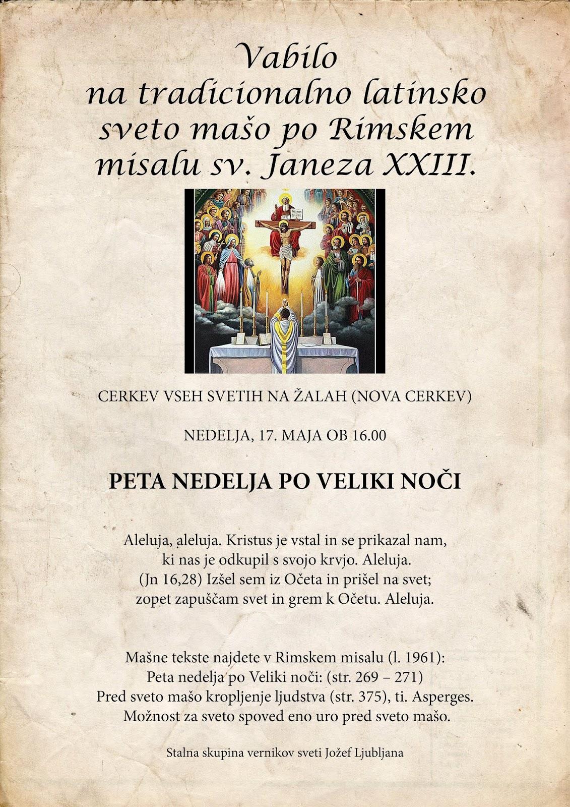 Vabilo na tradicionalno sveto mašo – IZJEMOMA NA ŽALAH!!! – 17. 5. 2020
