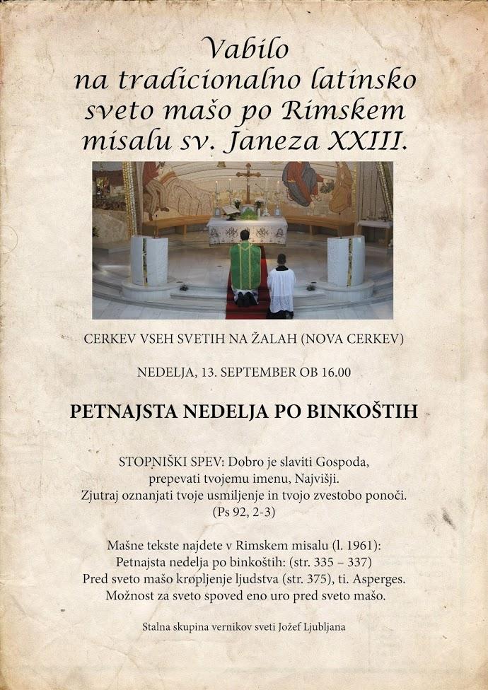 Vabilo na tradicionalno latinsko sveto mašo – 13. 9. 2020 ob 16h – NA ŽALAH