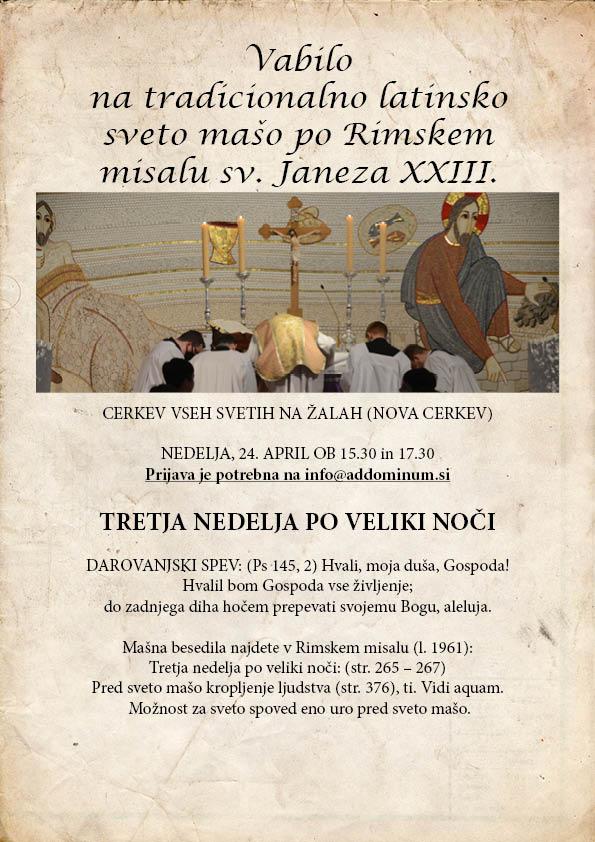 Vabilo na tradicionalno latinsko sveto mašo